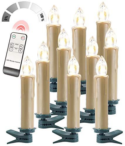 Lunartec Funk-Christbaumkerzen: FUNK-Weihnachtsbaum-LED-Kerzen, Fernbedienung, 10er-Set, golden (LED-Weihnachtsbaumkerzen mit Kabel)
