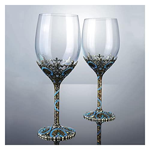PQQ Copas de Vino Copas de Agua de Cristal Esmalte Vasos de Copa de Vino Europeos con vástago Ideal para Vino Blanco y Tinto Champagne Regalo Elegante (Color : 2 Glass)