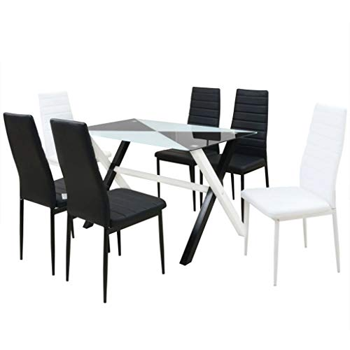 vidaXL Essgruppe 7-TLG. Kunstleder Esszimmer Esstischset Esstisch 6 Stühle