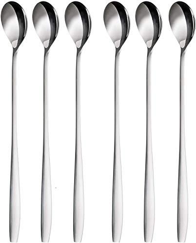 N\C Set cucchiaini da Latte Macchiato, 6 Pezzi, 22 cm - cucchiai Lunghi per Cocktail e Dessert, Acciaio Inossidabile Lucido, Lavabile in lavastoviglie