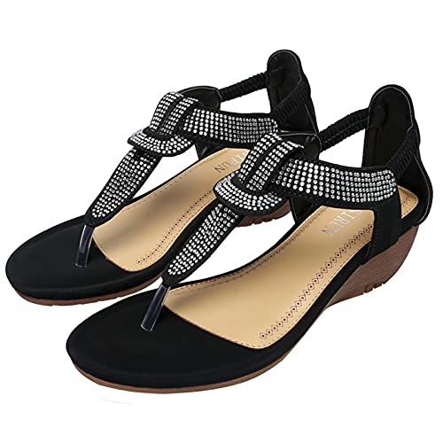 KovBexJa Tacón De Cuña Suela De Goma Moda Ocio Vacaciones Chanclas Sandalias De Punta Redonda para Mujer Estilo Bohemio Diamantes De Imitación Playa Zapatillas De Mujer Negro