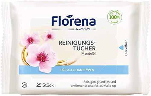 Florena Reinigungstücher (25 Stück), milde Gesichtsreinigungstücher mit natürlichem Mandelöl, Abschminktücher entfernen Make-Up und wasserfeste Mascara