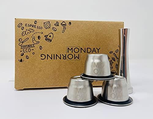 Monday Morning Capsule Réutilisable en Inox Compatible Nespresso (3 Capsules + 1 Tamper)