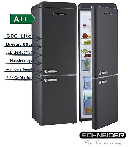 Schneider SL300B Retro Design - Juego de nevera y congelador (eficiencia energética A++, 60 cm de ancho, 300 litros, congelador, 190 cm de alto), color negro mate