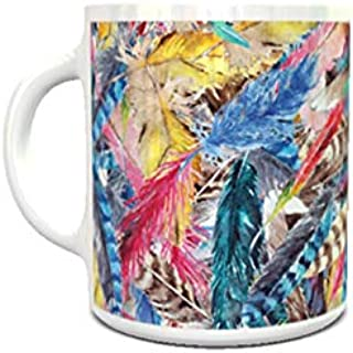 IMPRESS White Ceramic Coffee Mug with Colourful Feathers Design