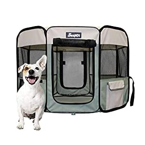 JESPET 36″ Pet Dog Playpens, Portable Soft Dog Exercise Pen Kennel with Carry Bag for Puppy Cats Kittens Rabbits, Shale Green