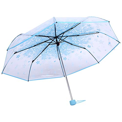 Omabeta Paraguas de Flor de Cerezo, Paraguas Plegable Transparente de 1 Pieza, Paraguas de Viaje de Princesa de Moda, Flor de Cerezo, Cuatro Colores(Azul)