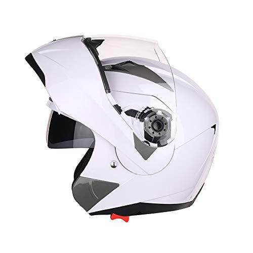 Folconauto Motorrad-Rollerhelm, Geprüfter Vollgesichts-Motorradhelm Crash Chopper mit Sonnenblende - Weiß (XXL)