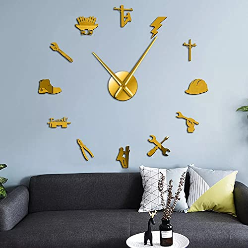 Reloj de Pared Herramientas de Electricista liniero silencioso Reloj de Pared de Bricolaje Espejo acrílico decoración de la Pared Reloj Reloj Regalo-Oro 27 Pulgadas