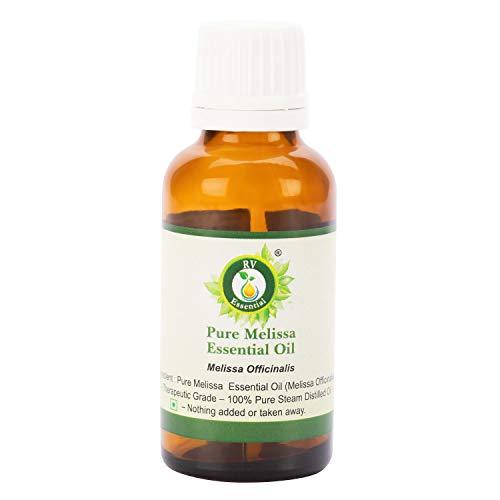 R V Essential Reines Melissa Ätherische Öl 10ml (0.338 Unzen) - Melissa Officinalis (100{b26ffbb6def8365299f6da7d37529fa72898bb413a94b4256de4022e7e03b9d7} reiner und natürlicher Dampf destilliert) Pure Melissa Essential Oil
