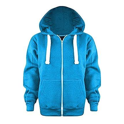 Parsa Fashions - Sudadera con capucha unisex de forro polar, con cremallera, de 1 a 13 años Turquesa turquesa 8 Años