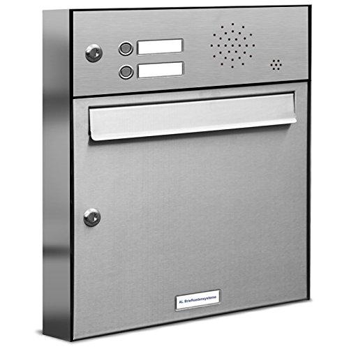 AL Briefkastensysteme 1er Briefkastenanlage Edelstahl mit Klingel, Premium Briefkasten DIN A4, 1 Fach Postkasten modern Aufputz