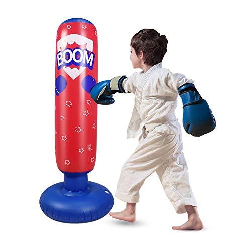 Sac de frappe gonflable pour enfants, sac de boxe sur pied pour rebondir immédiatement pour pratiquer le karaté, le taekwondo, la boxe déstressante pour garçon/fille (rouge, 125)