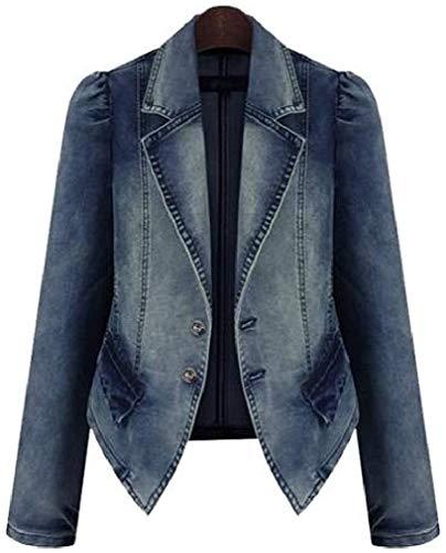 Women Denim Jacket Casual Jean Lapel Two Button Blazer Jacket Suit Coat,Blue,Large
