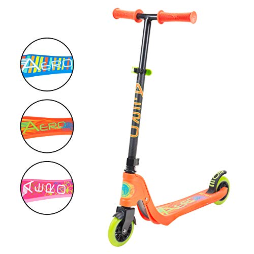 Aero Micro Kick Scooter for Kids Pro Design with LED Light Up Wheels, Adjustable Handle Height, Rear Fender Break for Boys and Girls Ages 5 and Up with 175lb Weight Capacity (Orange)