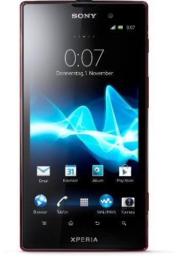 Sony Xperia ion Smartphone (11,7 cm (4,6 Zoll) Display, Qualcomm, 1,5GHz, 12,1 Megapixel, 13,2GB interne Speicher, Android 4.0) rot