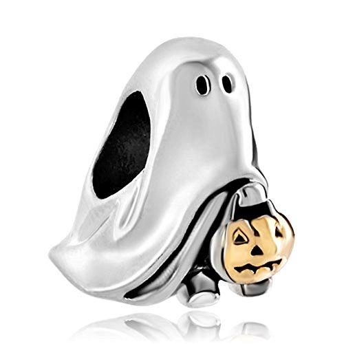 Pugster Gold Plated Jack-o-Lantern Weird Halloween Ghost Pumpkin Candy Charm Fits Pandora Bead