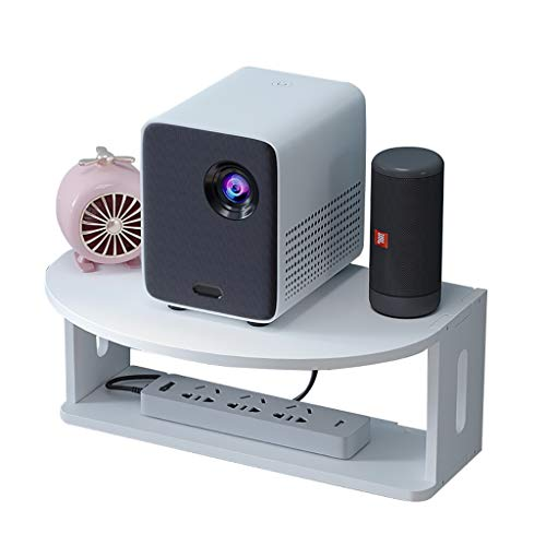 HJJ Tablettes flottantes Weißholz Kunststoffbrett Floating Regal für TV-Komponenten 36x12x15cm-Racks-Router DVD-Player-Spiel Regale TV-Zubehör Audio-Video-Konsole étagère de Rangement (Color : White)