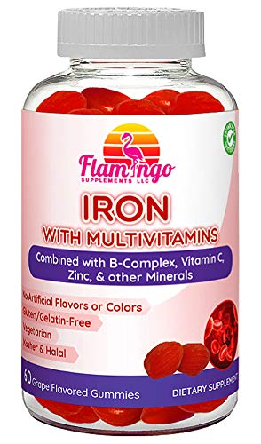 Iron Gummies Plus Multivitamin- Vitamin C, Zinc, B Complex, and Biotin for Fatigue, Anemia, Pregnancy. Good for Vegans and Vegetarians, Women, Kids, and Men. Grape Flavor. 60 Count