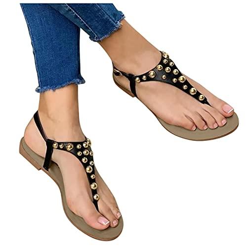 Platte sandalen voor dames, zomer, zachte bodem, teenslippers voor buiten, strandsandalen, ademend, comfortabel, casual sandalen, flip flops, sportsandalen, zomersandalen