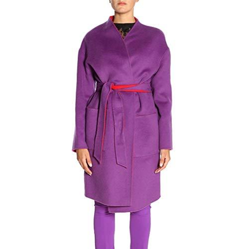 Pinko Mirco Panno Double Cappotto, Multicolore (Rosso/Viola Ry1), (Taglia Produttore:42) Donna