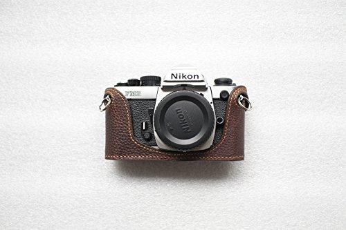 Bolso Funda para cámara Hecha a Mano con Media cámara de Cuero Genuino para Nikon FM2 FM...