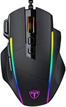 RGB Wired Gaming Mouse, Gihokod Ergonomic Computer Mouse with Chroma RGB Backlit, 8000DPI Adjustable, 8 Programmable Buttons, Fire Button, Comfortable Grip USB PC Mouse for Windows PC Gamers (Black)