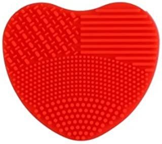 Store2508 Heart Shape Silicone Makeup Brush Cleaner (Red)