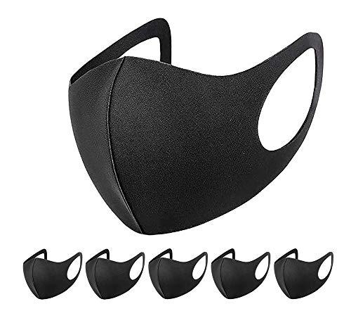 6 PCs Reusable Fabric Face Cover Black - UK Seller