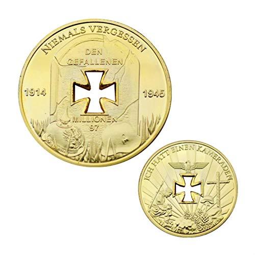 ZDANG 2 Piezas 1914 1945 ALEMÁN Cruz de Hierro Agujero 24k .999 Moneda de lingotes revestida de Oro un Regalo para coleccionista