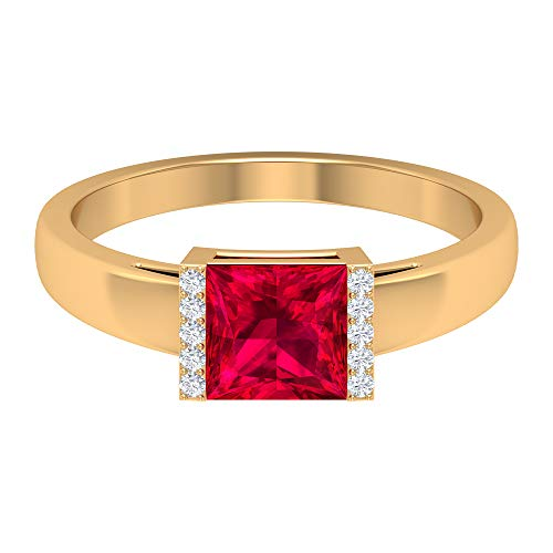 ¿Joyas Rosec? Anillo de compromiso solitario con rubí de 1,5 quilates, anillo de diamante HI-SI (calidad AAA), 14K Oro amarillo, Size:EU 70