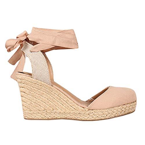 Ermonn Womens Platform Wedge Sandals Closed Toe Lace up Ankle Strap Espadrille Sandals Pink