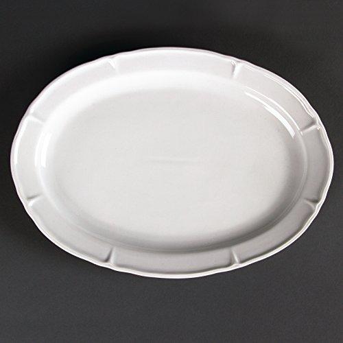 Olympia Rosa Lot de 4 assiettes ovales en porcelaine Blanc 295 x 214 x 28 mm