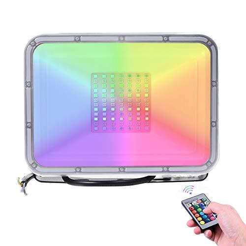 50W RGB Led Strahler 16 Farben Speicher Funktion Led Fluter Mit Fernbedienung IP65 Wasserdichtes 4-Modus-Dimmlicht für die Weihnachtsfeier der Geburtstagsfeie(Memory-Funktion))