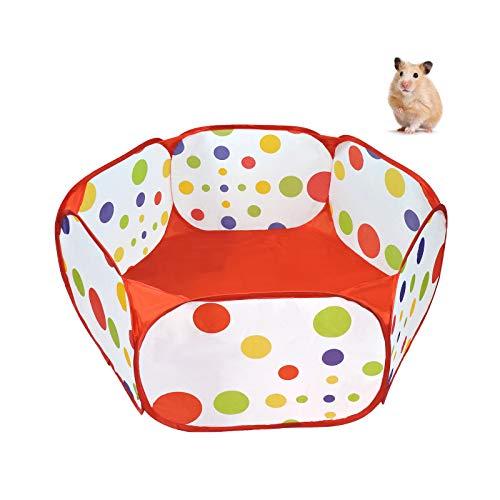 Andiker Valla para animales pequeños, portátil, para hacer ejercicio al aire libre Pop-Up, cercado plegable para cobayas, hámsteres, chinchillas, erizos y conejos (rojo)