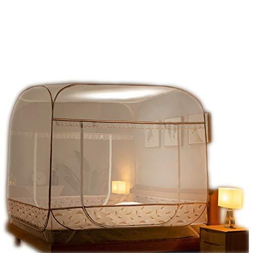Lyl moskitiera mongolska z juty nie musi instalować trzydrzwiowej, wyściełanej moskitiery (kolor: F, wymiary: łóżko 1,35 m)