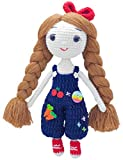FRILY Hannah Doll - Small Amigurumi Stuffed Doll - Knitted Crochet Toy for Kindergarteners, Girls and Adults - 100% Handmade Using Premium Yarns - 10.2'' Tall - Blue Color