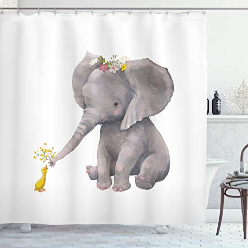Lunarable Elephant Shower Curtain, Baby Elephant Giving Flowers to a Little Duck Watercolor Animal Illustration, Cloth Fabric Bathroom Decor Set with Hooks, 70' Long, Multicolor