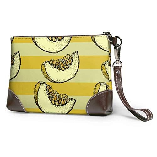 XCNGG Bolso de mano de noche suave impermeable totalmente maduro amarillo de grano entero en rodajas de melón bolso de mano de cuero con cremallera para mujeres y niñas