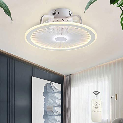 WOERD Ventilador De Techo con Lámpara Lámpara Invisible Creativo Regulable Moderna con Mando A Distancia Silencioso Viento Ajustable Luz del Ventilador Dormitorio Sala Restaurante Iluminación