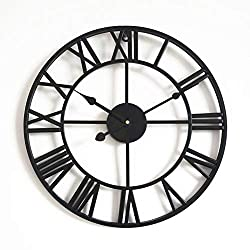 Large Metal Decorative Silent Wall Clock, Living Room Retro Fashion No Ticking Sound Quartz Clock Vintage Oversize 20 Inches-Black 32 Inch (80 cm)