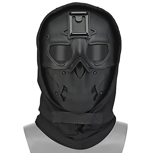 WISEONUS Máscara de airsoft y casco táctico conjunto completo de máscara protectora de cara completa Caza CS juego Halloween Cosplay máscara con base adaptador de visión nocturna