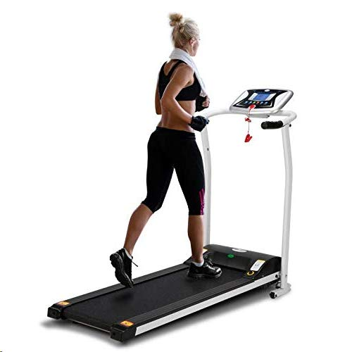 LONTEK Electric Treadmill Folding Fitness Running Machine,0.8-10km/h , Heart Rate Monitor, 5inch Screen,1.5HP DC,12 Programs - Compact Foldable For Storage