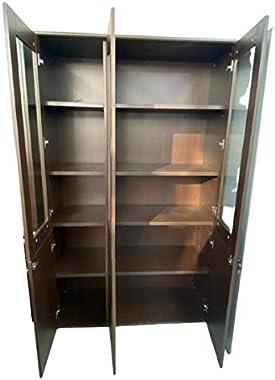 OFFBEET Marketing 3 Door & Cabinet 12 Shelves Pre Laminated Wooden Brown Wardrobe with Stainless Steel Handle