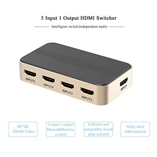 Daxoon HDMI splitter, 5x1 aansluiting, HDMI switcher, 4K 1080P 3D IR afstandsbediening voor PS3 Xbox 360 Sky Box DVD HDTV projector