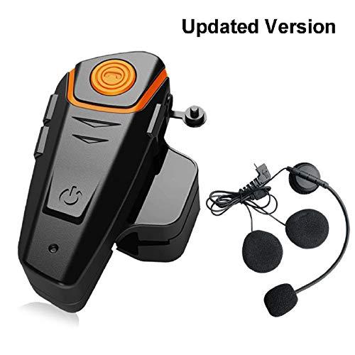 QSPORTPEAK Pro Auriculares Intercomunicador Moto Bluetooth para Motocicletas, intercomunicador Casco Moto Headset BT-S2 (Manos Libres/Water Resistant/Radio FM/Música del Teléfono/GPS/Alcance 800M)