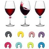 DMFSHl Marcadores de Vidrio para Beber, 8 PCS Adornos de Copa de Vino de Silicona, Encantos de Identificadores de Vidrio Reutilizables de Varios Colores para Copa de Vino, Copa de Bebida