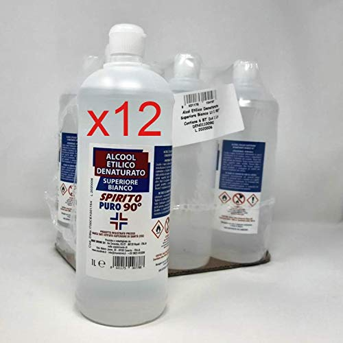 Alcool Etilico Denaturato Bianco da 12 Litri (12 pezzi da 1 Litro), SPIRITO PURO 90° (es. Iva DL Rilancio)