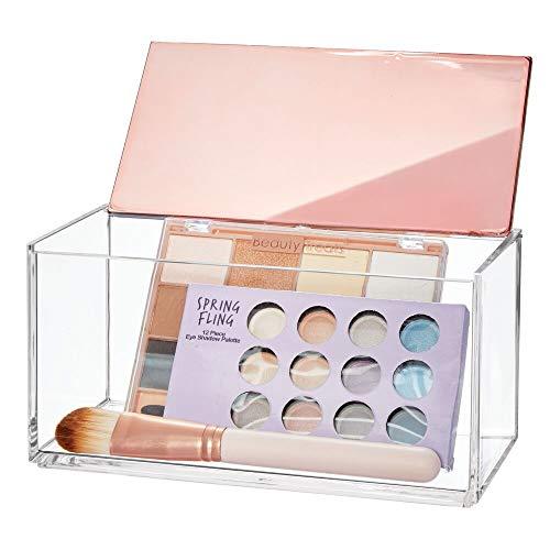 mDesign große Kosmetikbox mit Deckel – ideale Make-up Aufbewahrung für das Bad oder den Schminktisch – praktische Schminkaufbewahrung für Lippenstift, Concealer & Co. – durchsichtig und rosegold