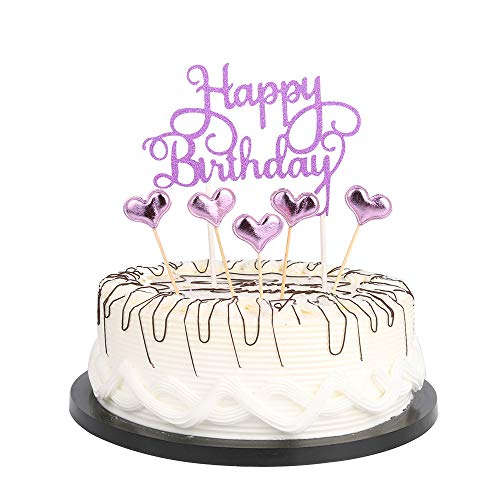 Purple Happy Birthday Cake Toppers letters'happy birthday 'and love star,Party